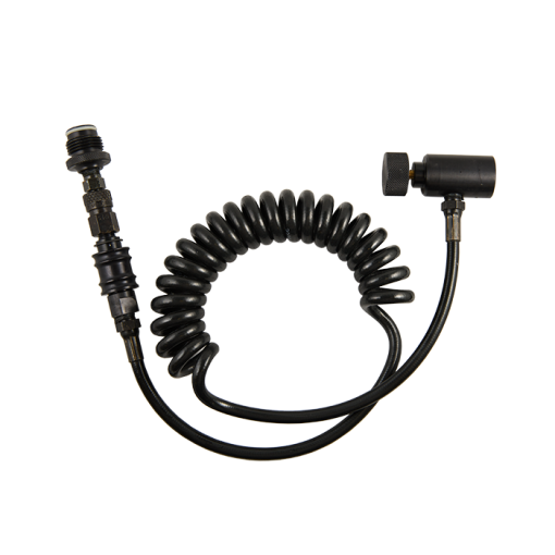 Coiled remote hose.